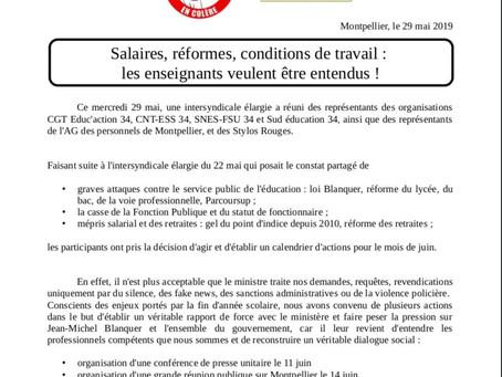 Appel de l'intersyndicale de l'Hérault