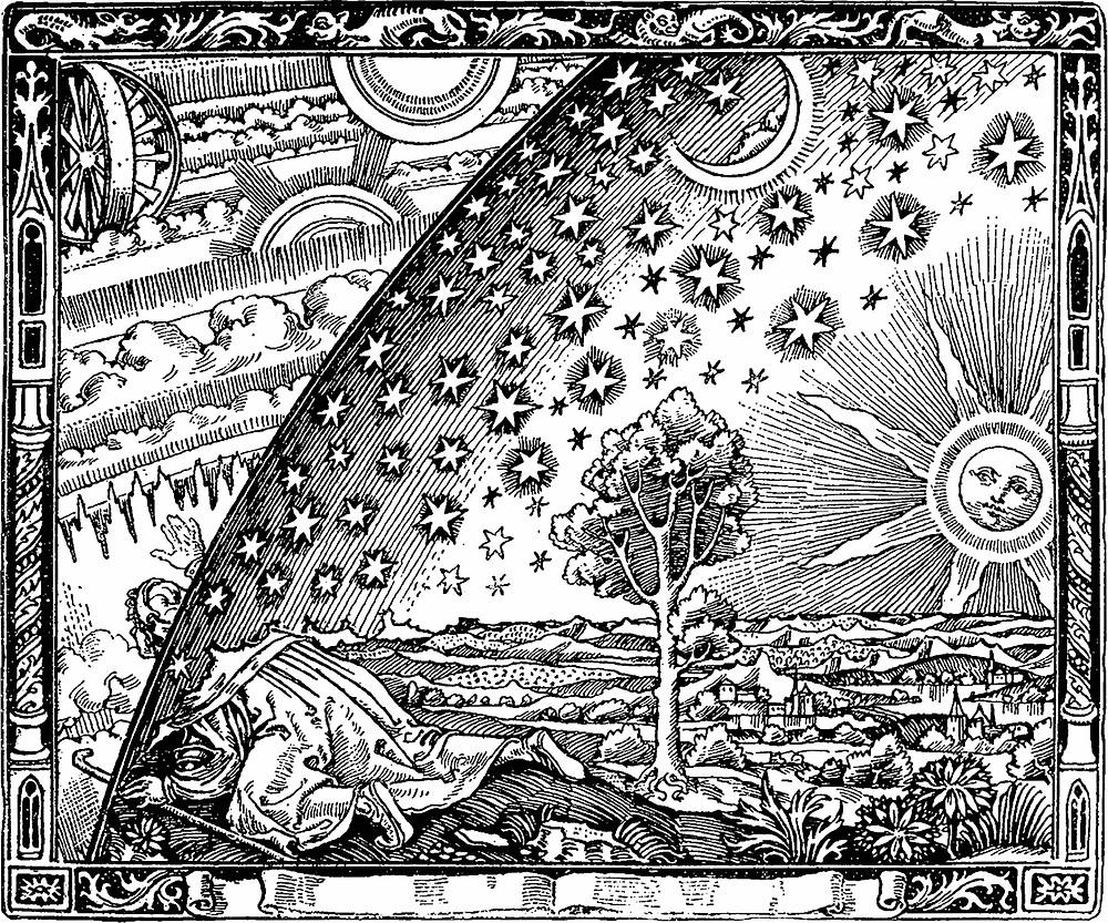 Flammarions Holzstich – erstmals erschienen in L'atmosphère, Paris 1888, als Illustration zu La forme du ciel im Kapitel Le jour