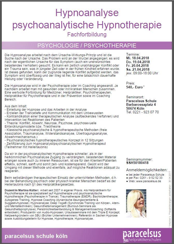 Hypnoanalyse psychoanalytische Hypnotherapie