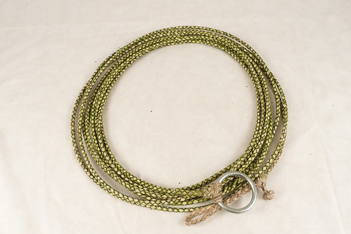 """Green """"Chivero"""" loop with 4 strands of braided leather. Laz 01B"""