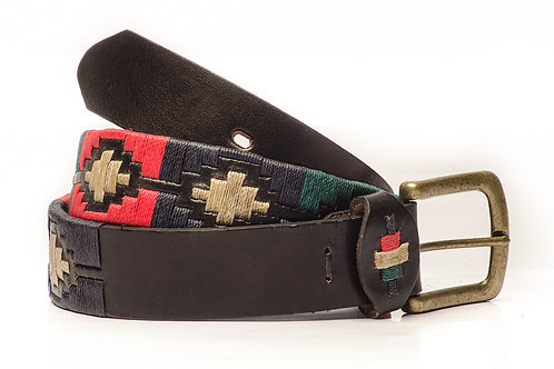 Fully embroidered black polo belt. CIN 02.