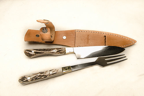 Small knife and fork set with stag horn handle. CUCH 43