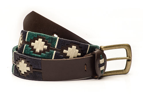 Fully embroidered brown polo belt. CIN 01.