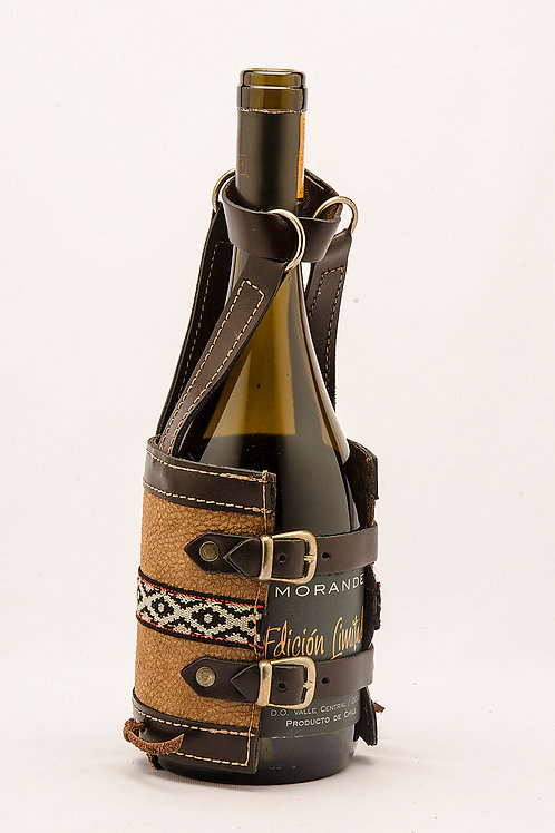 Leather wine holder with buckles. VIN 01.