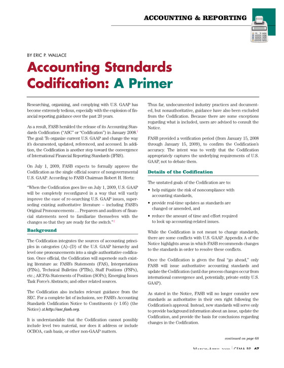 Accounting Standards Codification: A Primer