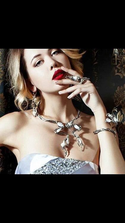 Completo LILIANA - perla bianca, ANELLO/ COLLANA.