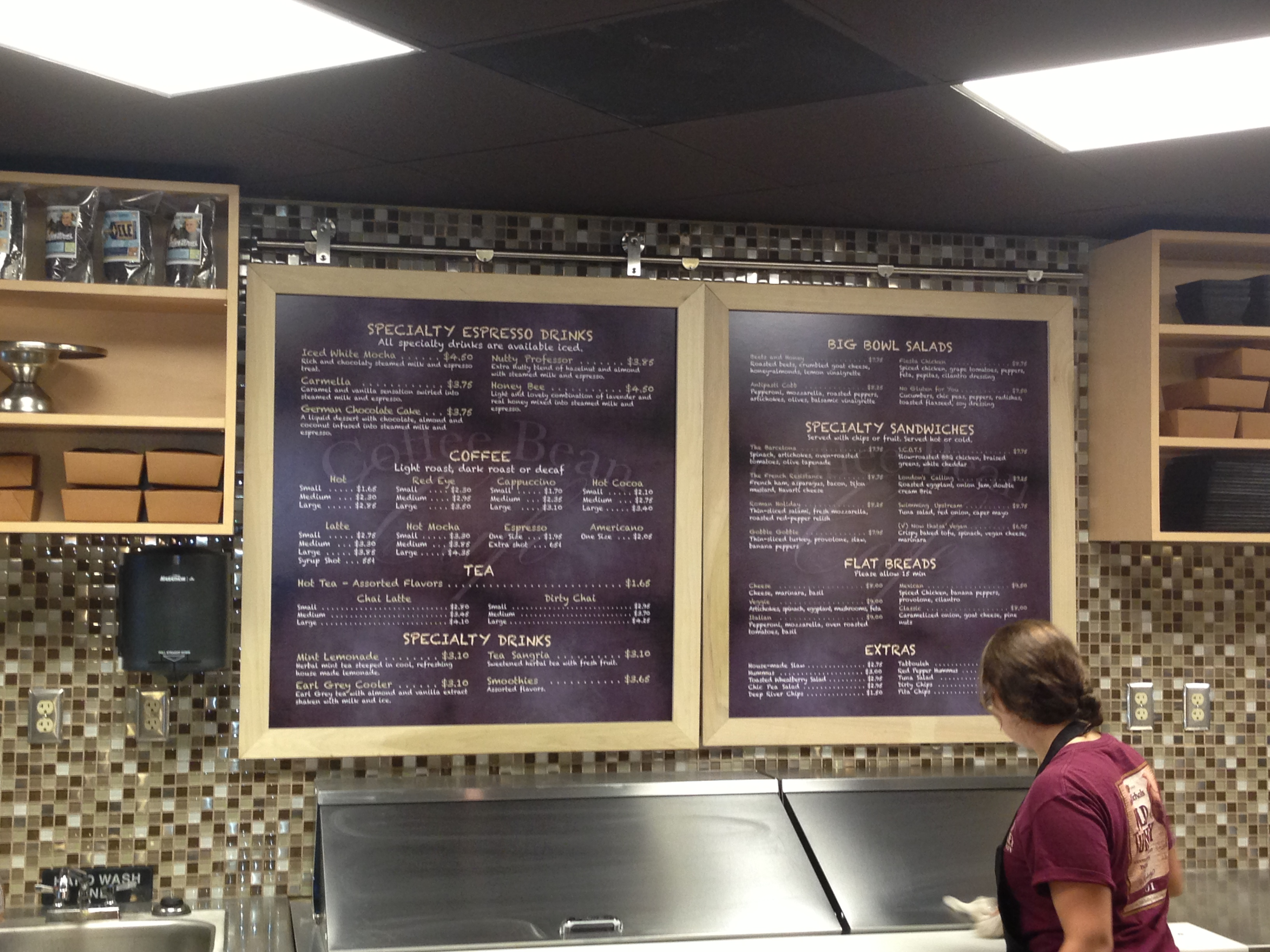 Coffee Bean Cafe Menu
