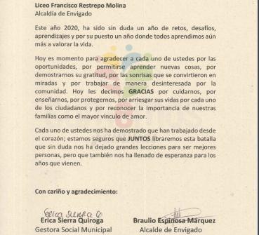 AGRADECIMIENTO DE PARTE DE LA ALCALDÍA DE ENVIGADO