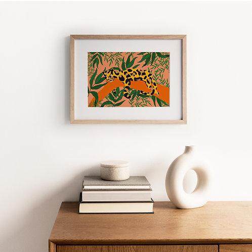 Bright colour leopard print wall art, pink, orange, green
