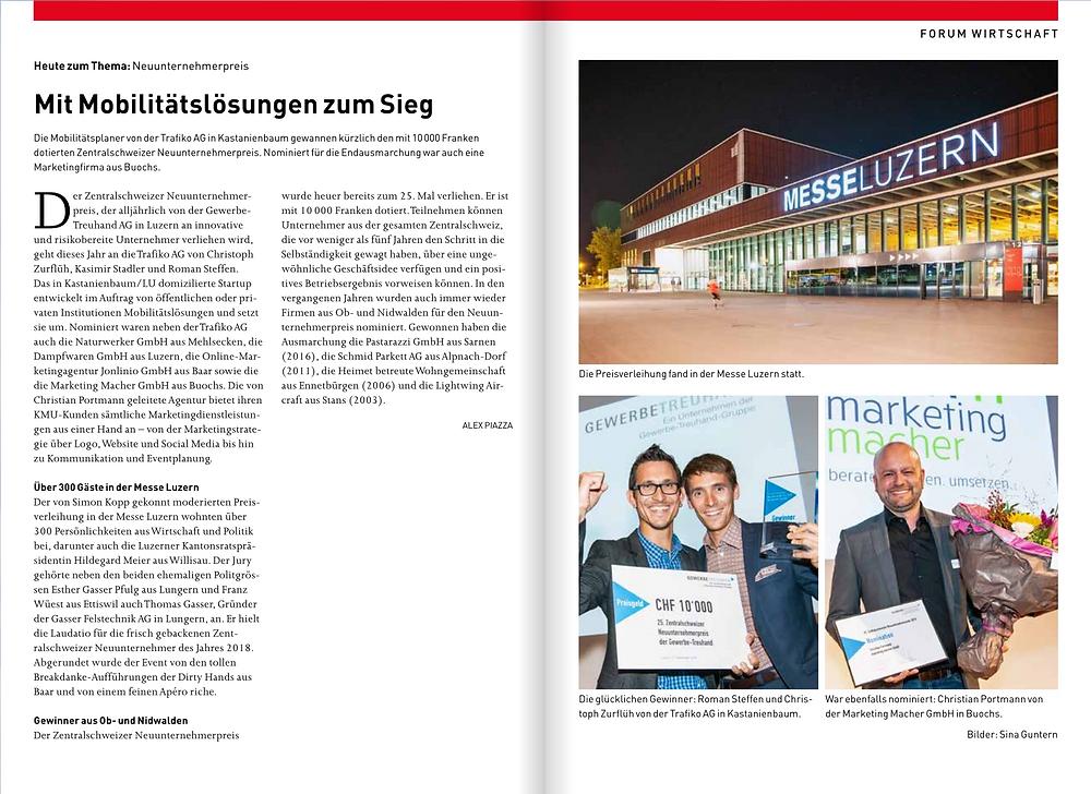 Bericht im Unterwaldner - Ausgabe 26. September 2018