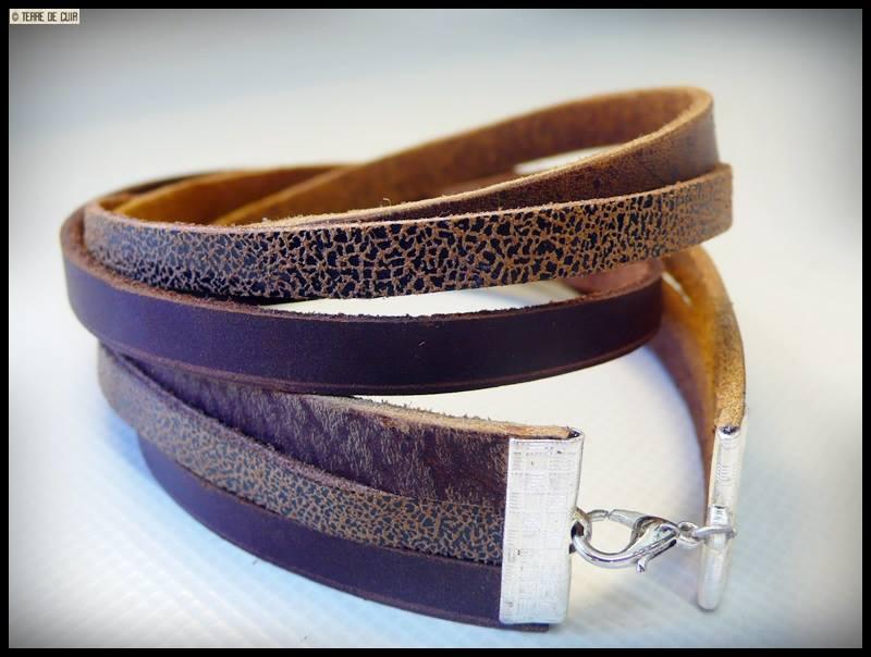 bracelet cuir fantaisie double tour