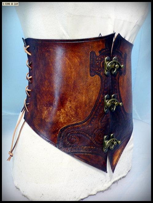 Corset Thor cuir marron vieilli - tannage végétal
