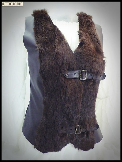 Gilet medieval brun sans manches cuir & fourrure