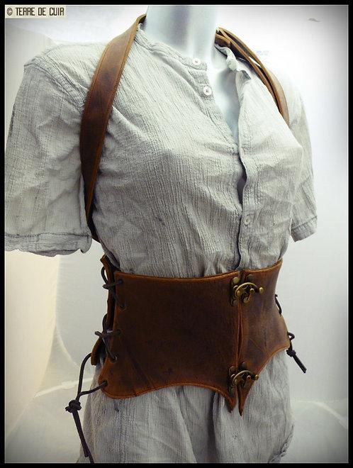Corset ceinture cuir style médieval marron vieilli