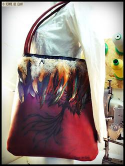 sac cuir & plumes