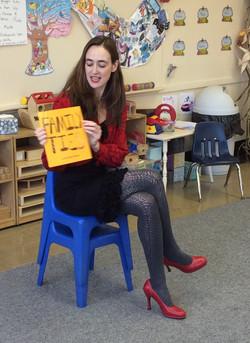 Reading to pajama clad kids