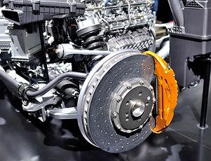 Car ceramic disc brake with yellow caliper