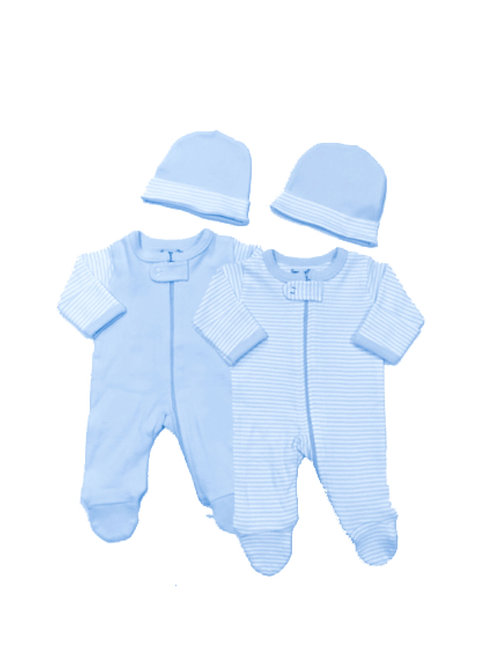 Preemie Zipper Suit & Cap Set Blue #184