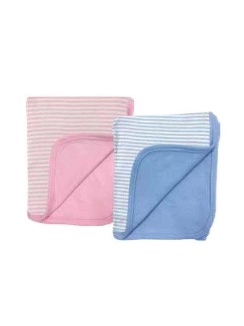Stripe/Solid Reversible 2 Ply Blanket
