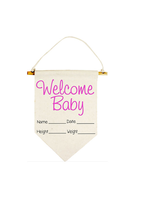 Pink Welcome Baby Banner #833