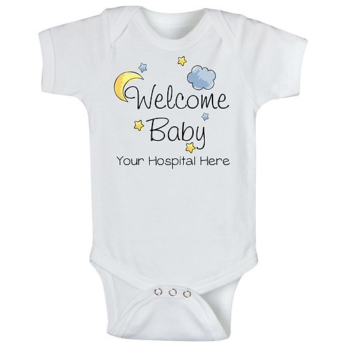Moon & Clouds - Welcome Baby (Your Hospital Name)