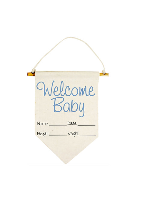 Blue Welcome Baby Banner #835