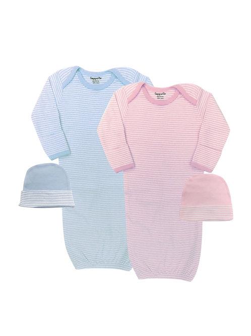 Preemie Gown & Cap Set Blue #885