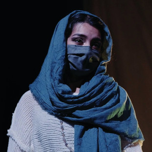 Yasmin Pascall as Ora in Down in the Face of God by Tim J. Lord. Directed by Cameron Knight.