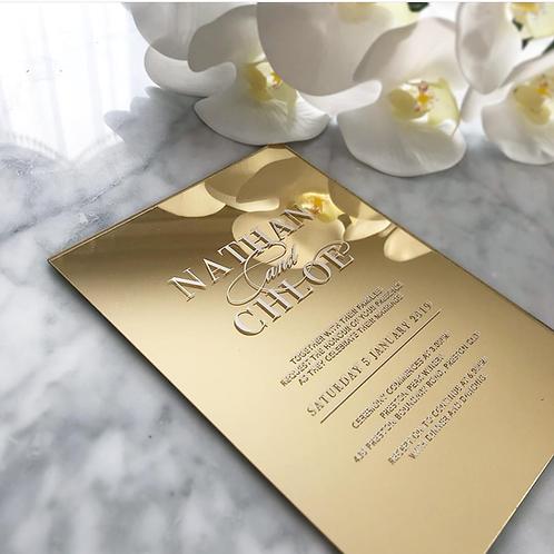 Acrylic Invitation - Gold Mirror
