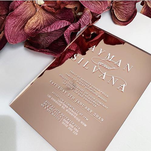 Acrylic Invitation - Rose Gold Mirror
