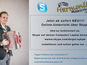 Ab sofort Online-Unterricht über Skype möglich!