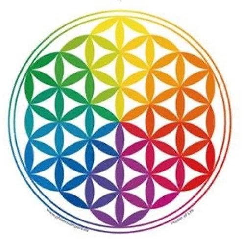 Fensterbild Aufkleber Blume des Lebens Regenbogen