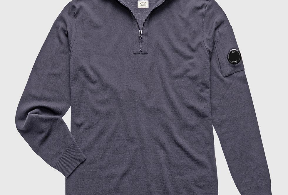 C.P. Company Extrafine Merino Wool Quarter Zip Lens Sweater Grey