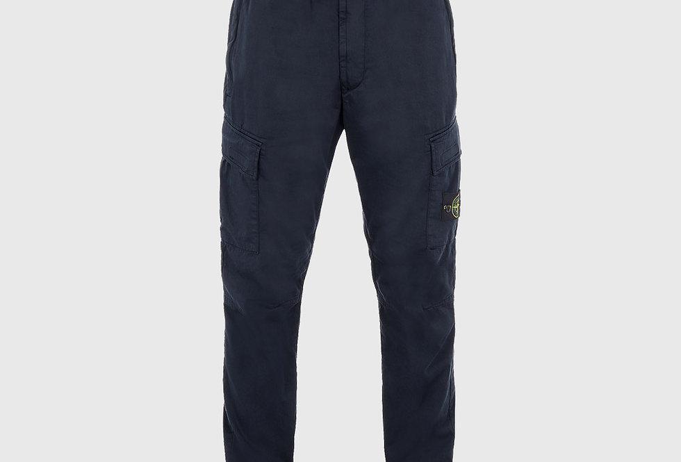 Stone Island 31314 Stretch Cotton Wool Satin Trousers Blue
