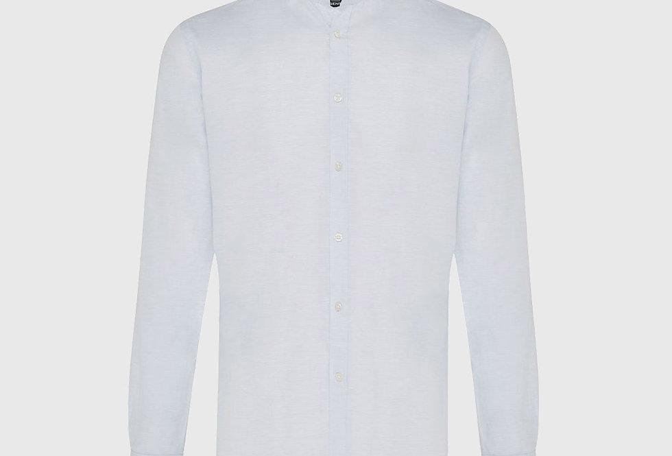 Genti Cotton Linen Stretch Shirt Light Blue