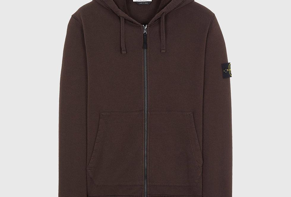 Stone Island 64220 Brushed Cotton Fleece Full Zip Sweatshirt Dark Brown
