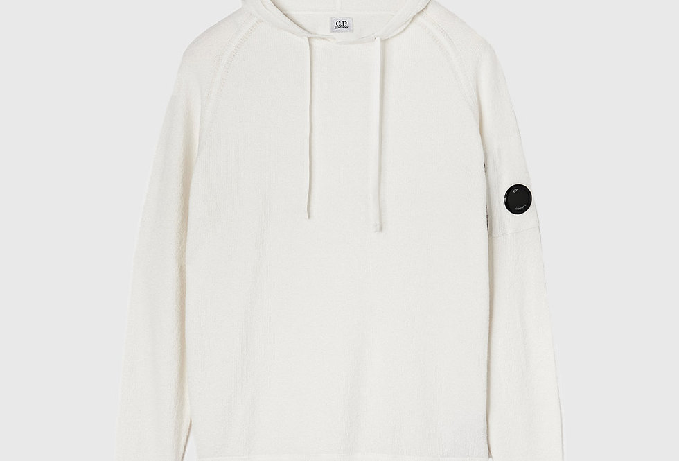 C.P. Company Cotton Crepe Bouclé Hooded Sweater White
