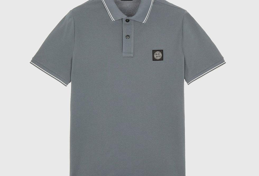 Stone Island 22S18 Stretch Cotton Piqué Polo Shirt Pastel Blue