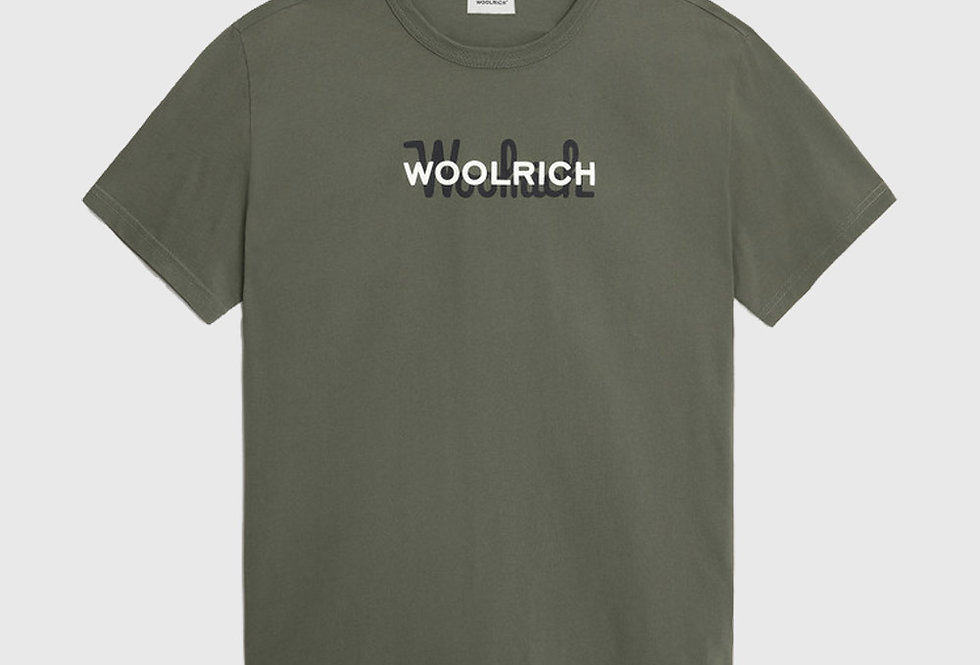 Woolrich Macro Logo Cotton Tee Green