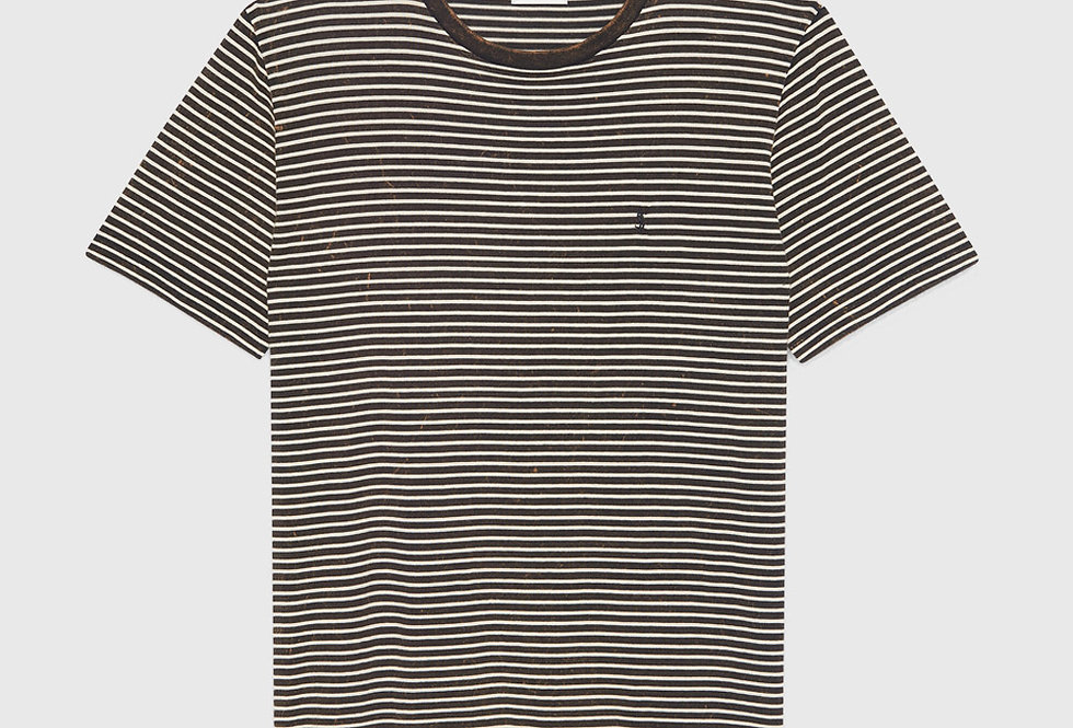 Saint Laurent Tie-Dye Striped Monogram T-shirt Black