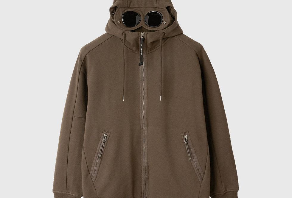 C.P. Company Diagonal Raised Fleece Goggle Hoodie Green