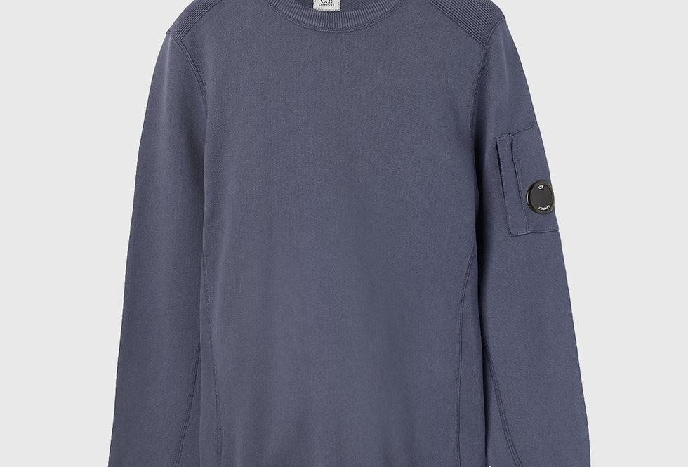 C.P. Company Garment Dyed Knit Lens Sweatshirt Marine