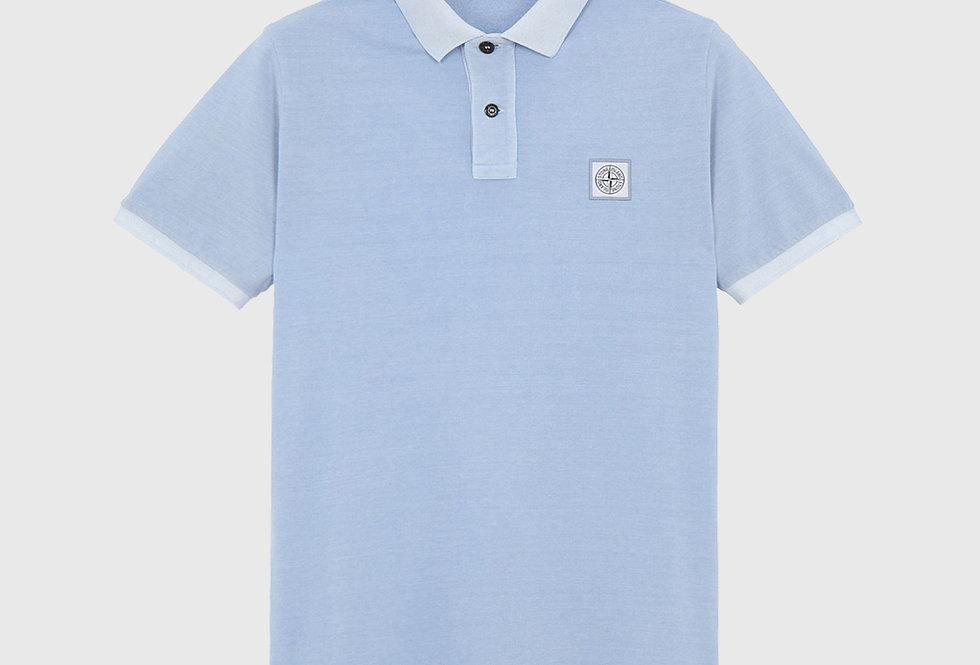 Stone Island 22S67 Pigment Dye Treatment Polo Shirt Sky Blue