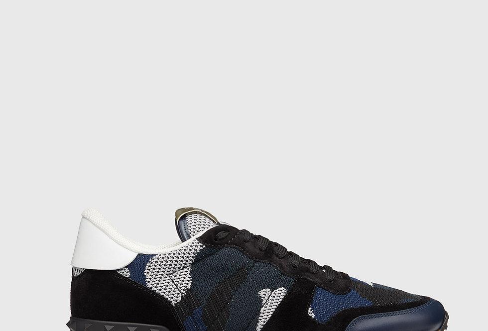 Valentino Mesh Fabric Camouflage Rockrunner Sneaker Indigo