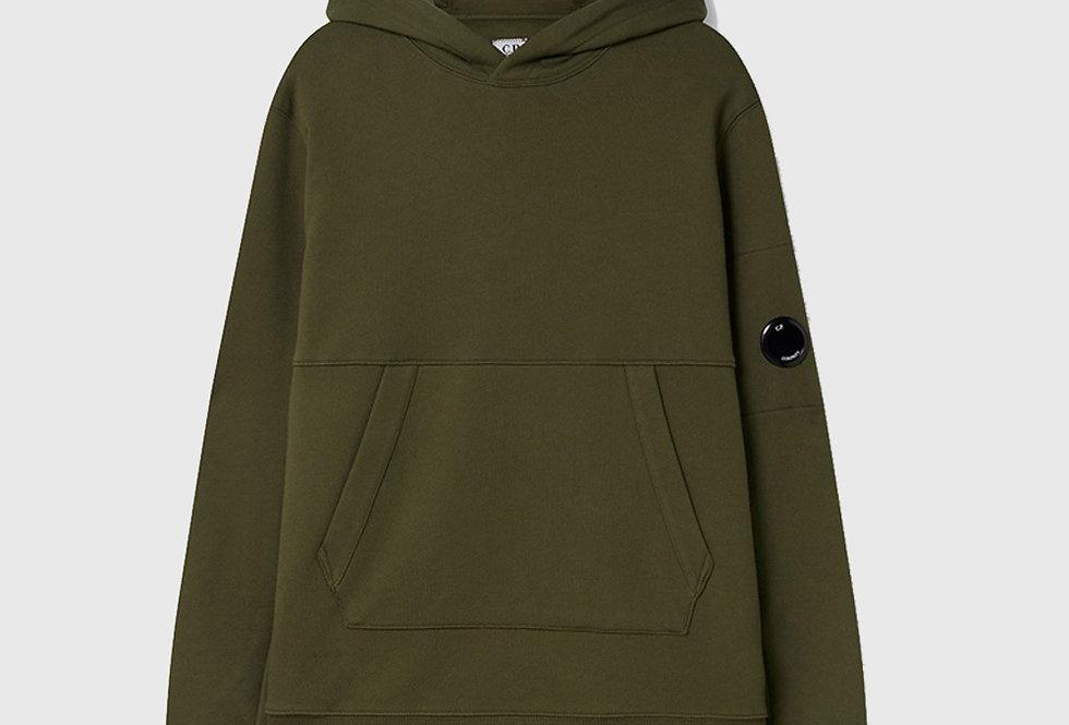 C.P. Company Diagonal Raised Fleece Garment Dyed Hoodie Ivy Green