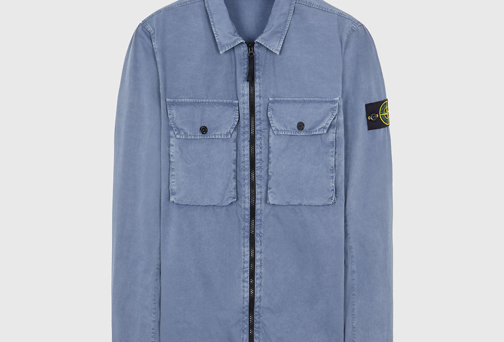 Stone Island 113WN Cotton Canvas_Old Effect Over Shirt Pastel Blue