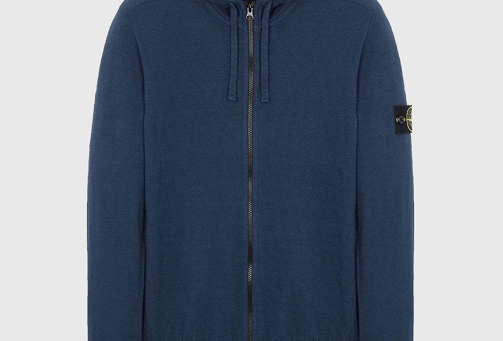 Stone Island 523B0 Hooded Cardigan Knit Sweater Avio Blue