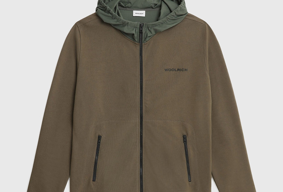 Woolrich Nylon Patch Hoodie Zipped Pockets Army Olive