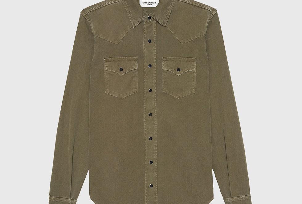 Saint Laurent Western Shirt Stonewashed Denim Khaki