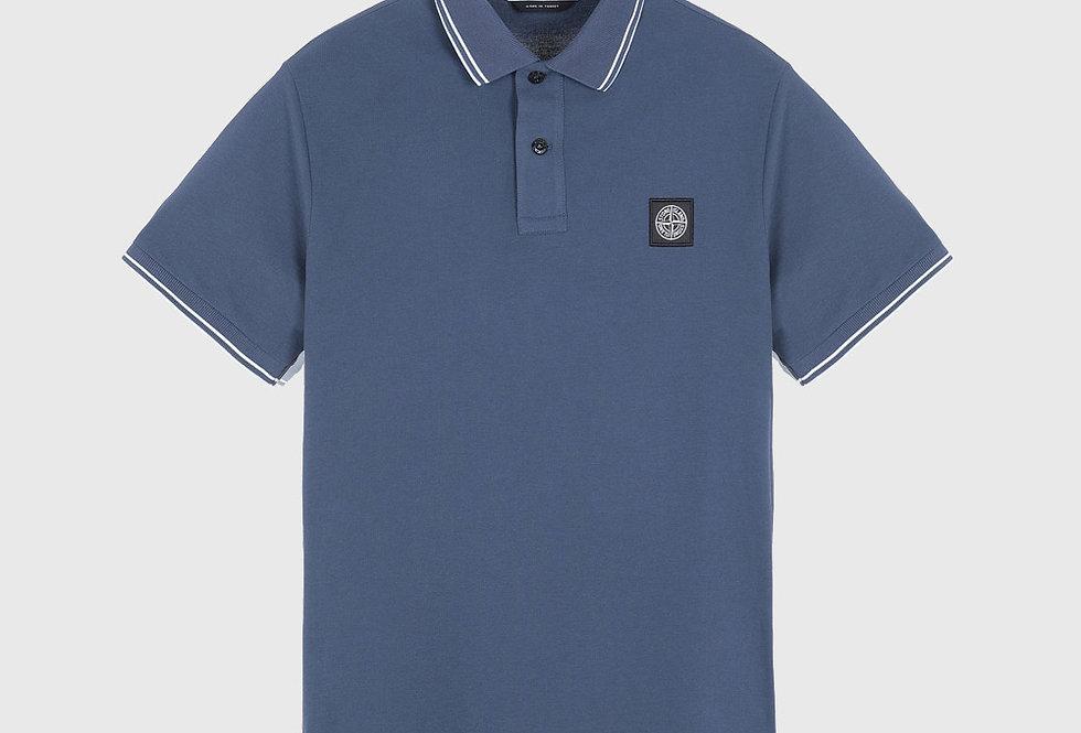 Stone Island 22S18 Stretch Pique Polo Shirt Avio Blue